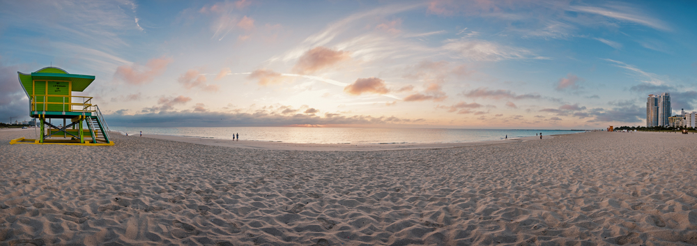 Panoramic photo of Beach at Sunrise