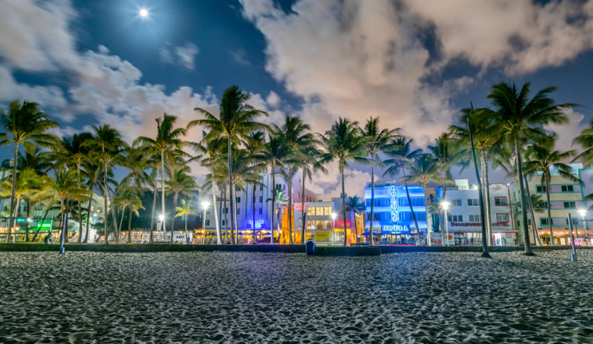 Ocean Drive Miami Beach at Night